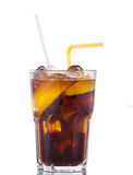 Cola drink with ice and yellow lemon on white Stock Photos