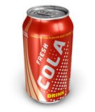 Cola drink in metal can royalty free illustration
