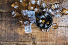 Cola drinks, black soft drinks and refreshing ice stock photos