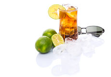 Cola Drinks With Ice Cube and Lime IV Royalty Free Stock Photography