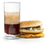 Cola e cheeseburger fotografia stock