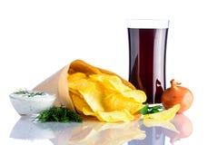 Cola e patatine fritte di vetro Fotografia Stock