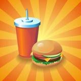 Cola ed hamburger Immagini Stock Libere da Diritti
