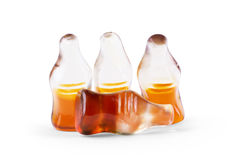 Cola flavored gummy jellies in the shape of cola bottles,isolate Stock Photo