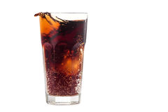 Cola glass with bubble. Isolated on a white background Stock Photos