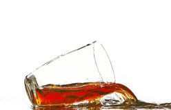 Cola glass and cola splashing Royalty Free Stock Images