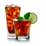 Cola glass with ice cubes Royalty Free Stock Image