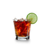 Cola glass with ice cubes Royalty Free Stock Photo
