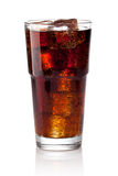 Cola glass with ice cubes. On a white background Stock Photography