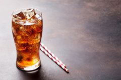 Cola glass with ice. Cubes with copy space royalty free stock photos