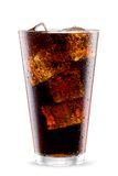 Cola glass with ice cubes isolated Stock Photography