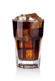 Cola glass with ice cubes Royalty Free Stock Images