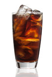 Cola glass with ice cubes on a white Stock Image
