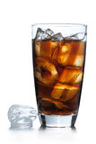 Cola glass with ice cubes on a white Royalty Free Stock Image