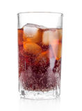 Cola glass with ice cubes on a white background Royalty Free Stock Photography