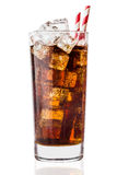 Cola glass with ice cubes on a white background Royalty Free Stock Photo