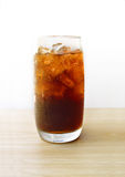 Cola in glass with ice cubes Royalty Free Stock Photos