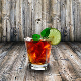 Cola glass with ice cubes Royalty Free Stock Photos