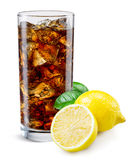 Cola glass with lemon isolated on white. Royalty Free Stock Photo