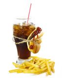 Cola, hamburger and fries Royalty Free Stock Image