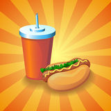 Cola and hot dog Stock Photography