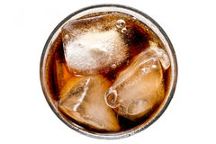 Cola with ice. Glass of cola isolated on white background Royalty Free Stock Image
