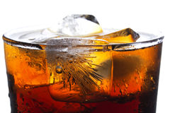 Cola and Ice. Close up Stock Image