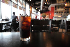 Cola. With ice in close up royalty free stock image
