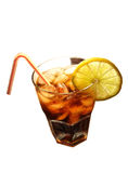 Cola with ice cubes and lemon slice Royalty Free Stock Images