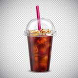 Cola With Ice Realistic Transparent Stock Images