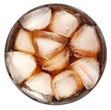 Cola with ice in glass stock photos