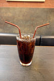 Cola and ice in Glass of drink. Royalty Free Stock Image