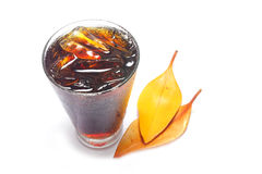 Cola with ice in glass. Royalty Free Stock Images