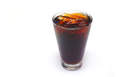 Cola with ice in glass. Royalty Free Stock Image