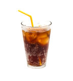 Cola with ice and straw in glass isolated on white background Royalty Free Stock Photo