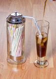 Cola Ice and straws make a nice cold drink Stock Photos