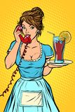 Cola with lemon Delivery. Hotel service. Waitress. Comic cartoon pop art retro vector drawing vector illustration