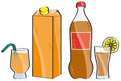 Cola and orange juice Stock Images
