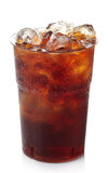 Cola. Plastic glass of cola with ice isolated on white background royalty free stock photography