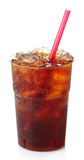 Cola. Plastic glass of cola with ice and straw isolated on white background stock photography