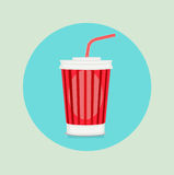 Cola plastic glass with straw flat design Stock Photo