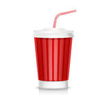 Cola plastic glass with straw isolated Royalty Free Stock Photo