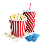 Cola Popcorn And Tickets. Cinema set with cola glass popcorn bucket and tickets realistic vector illustration royalty free illustration