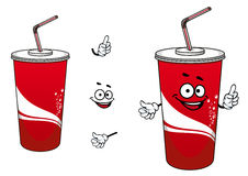 Cola or soda paper cup cartoon character Stock Image