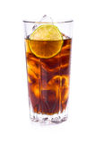 Cola in tall glass with ice cubes and lime Stock Photography