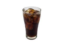 Cola in vetro con ghiaccio Fotografia Stock Libera da Diritti