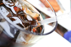 Cola wet glass Royalty Free Stock Image