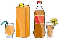 Cola y zumo de naranja Imagenes de archivo