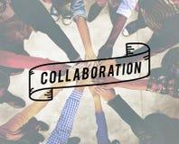 A colaboração colabora conceito incorporado da conexão imagens de stock