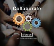 A colaboração colabora conceito incorporado da conexão fotografia de stock